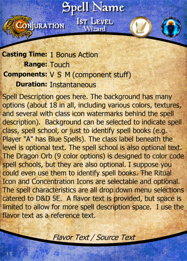 image about Dnd 5e Printable Spell Cards referred to as Wizard Record 5e