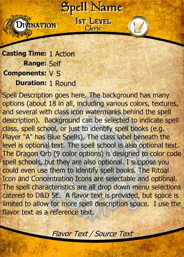 Spell Cards for D&D 5E | Magic Set Editor